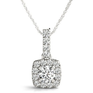 14 Kw Square Halo Diamond Pendant 1.00 CT TW