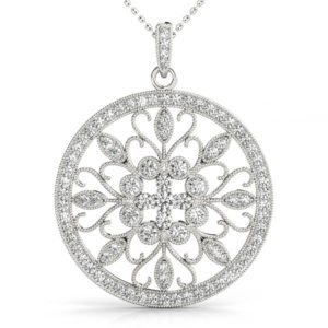 14 Kw Round Diamond Pendant 0.75 CT TW