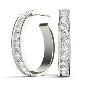 14Kw C Style Round Hoop Diamond Earrings 0.50 CT TW