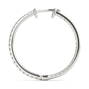14Kw Oval Diamond Hoop Earrings In & Out 0.50 CT TW