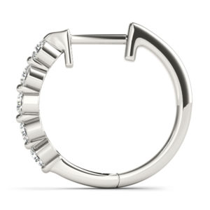 14Kw Round Diamond Hoop Earrings 1.00 CT TW
