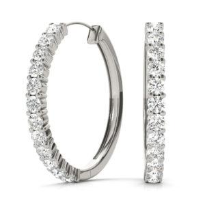 14Kw Round Diamond Hoop Earrings 1.00 CT TW