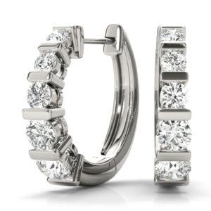 14Kw Round Diamond Hoop Earrings 0.50 CT TW