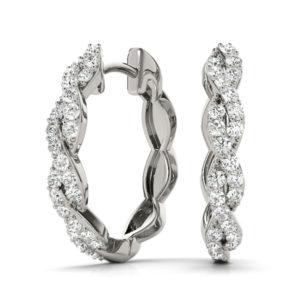 14Kw Round Diamond Hoop Earrings 0.25 CT TW
