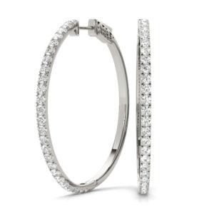 14Kw Circular Diamond Hoop Earrings 1.00 CT TW