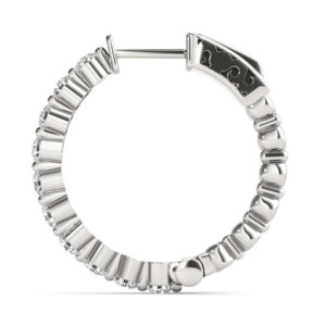 14Kw Circular Diamond Hoop Earrings 1.00 CT TW