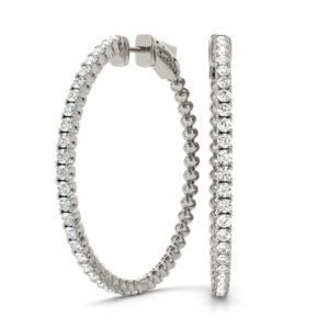14Kw Circular Diamond Hoop Earrings 1.25 CT TW