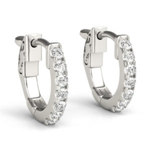 14Kw 1 Row Diamond Hoop Earrings 0.25 CT TW