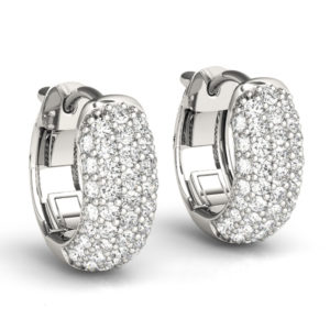 14Kw 5 Row Pave Diamond Hoop Earrings 0.75 CT TW