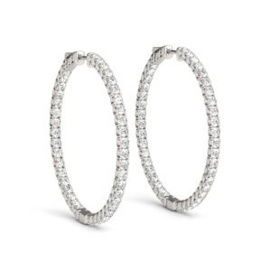 14Kw Round Diamond Hoop Earrings In & Out 1.75 CT TW