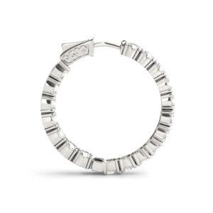 14Kw Round Diamond Hoop Earrings In & Out 3.5 CT TW
