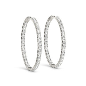 14Kw Oval Diamond Hoop Earrings In & Out 2.5 CT TW
