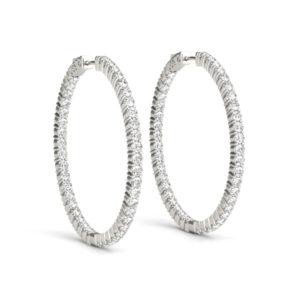 14Kw Round Diamond Hoop Earrings In & Out 6.00 CT TW