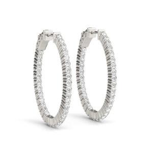 14Kw Oval Diamond Hoop Earrings In & Out 3.75 CT TW