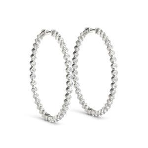 14Kw Round Diamond Hoop Earrings 2.66 CT TW