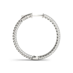 14Kw Diamond Round Hoop Earrings In & Out  3.75 CT TW