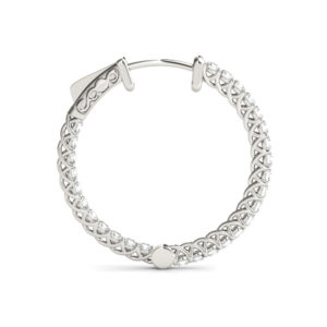 14Kw Diamond Round Hoop Earrings In & Out 10.00 CT TW