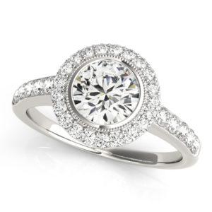 14Kw Halo Engagement Diamond Ring Wedding Set 1.71 CT TW