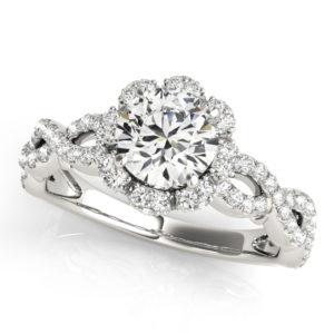 14Kw Halo Engagement Diamond Ring Wedding Set 1.78 CT TW