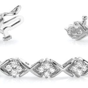 14Kw Interlocking Diamond Tennis Bracelet 3.20 CT TW