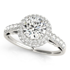 14Kw Halo Engagement Diamond Ring Wedding Ring 1.50 CT TW