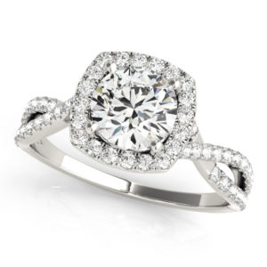 14Kw Halo Engagement Diamond Ring Wedding Ring 1.17 CT TW