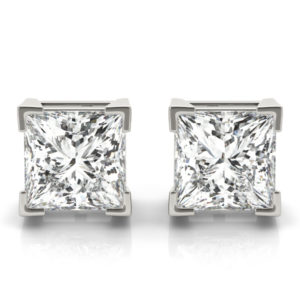 14Kw Princess Diamond Stud Earrings 2.00 CT TW