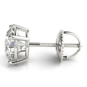 14Kw Round Diamond Stud Earrings 3.00 CT TW Screw Back
