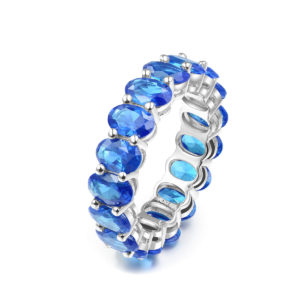 Sterling Silver Maria Blue Eternity Band