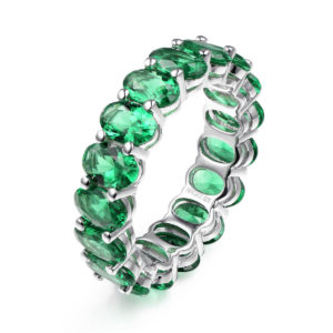 Sterling Silver Maria Green Eternity Band