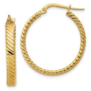 14K 3.25mm Patterned Hoop Earrings