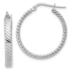14K White Gold 3.25mm Patterned Hoop Earrings