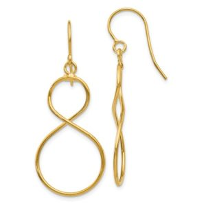 14K Twist Dangle Shepherd Hook Earrings