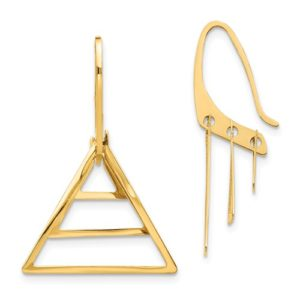 14K Triple Triangle Dangle Earrings
