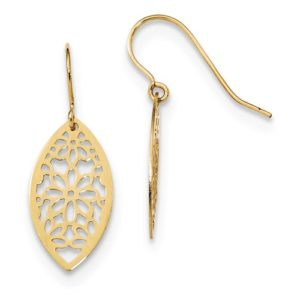 14k Polished Flower Dangle Earrings