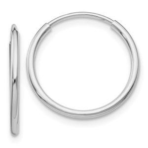 14k White Gold Polished Endless Tube Hoop Earrings