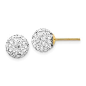 14k Crystal 8mm Post Earrings