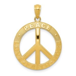 14k Peace/Hope/Faith/Love Peace Sign Pendant