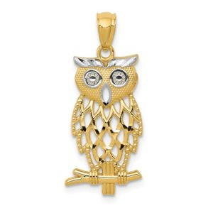 14k Yellow Gold Rhodium Plated Diamond Cut Owl Pendant
