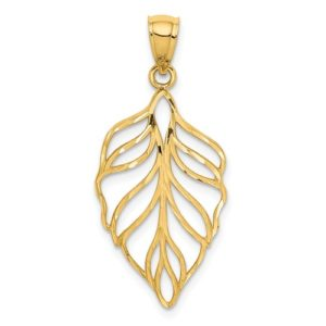14K Leaf D/C Dangle Pendant