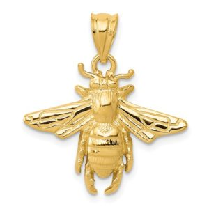 14k Solid Open-Backed Bee Pendant