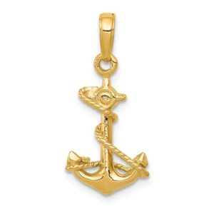 14k 3-D Anchor With Rope Pendant