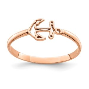 14K Rose Polished Anchor Ring
