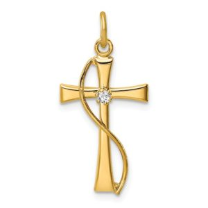 Sterling Silver Gold Tone And CZ Cross Pendant