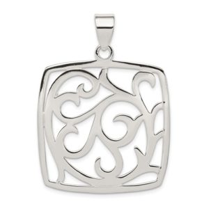 Sterling Silver Fancy Square Pendant