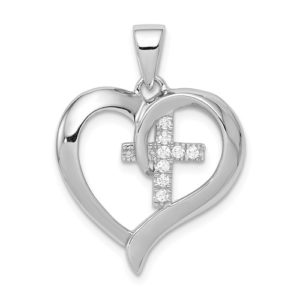 Sterling Silver Rhodium-Plated Heart With CZ Cross Pendant