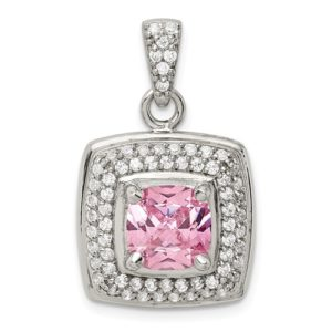 Sterling Silver Pink And White CZ Square Pendant