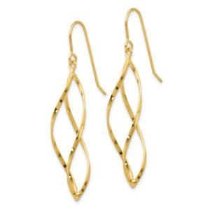 14K Swirl Dangle Earrings