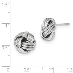 14k White Gold Polished Textured Love Knot Post Earrings