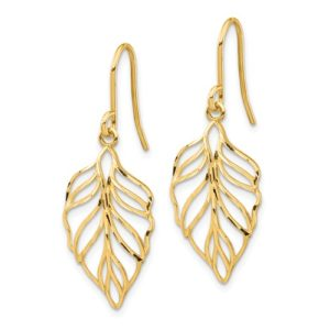 14K Leaf Dangle Earrings